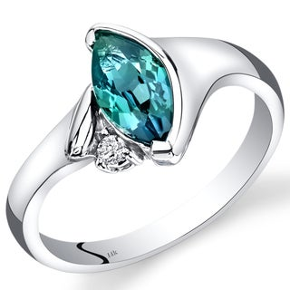 Oravo 14k White Gold 1 1/4ct TGW Marquise-cut Created Alexandrite and Diamond Accent Ring