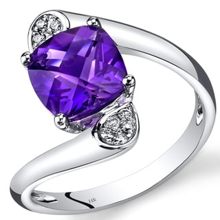 Oravo 14k White Gold 2 1/10ct TGW Cushion-cut Amethyst Diamond Accent Bypass Ring