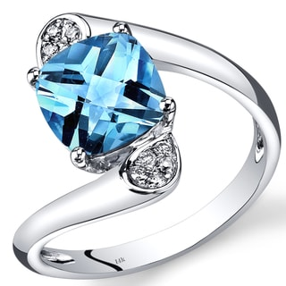 Oravo 14k White Gold 2 1/3ct TGW Swiss Blue Topaz and Diamond Accent Bypass Ring