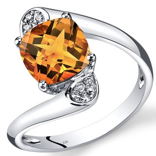 Oravo 14k White Gold 1 7/8ct TGW Cushion-cut Citrine and Diamond Accent Bypass Ring