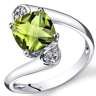 Oravo 14k White Gold 2 1/3ct TGW Peridot and Diamond Accent Bypass Ring