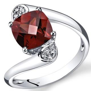 Oravo 14k White Gold 3 1/10ct TGW Garnet and Diamond Accent Bypass Ring
