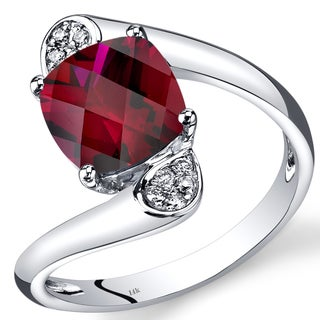 Oravo 14k White Gold 2 7/8ct TGW Created Ruby and Diamond Accent Bypass Ring