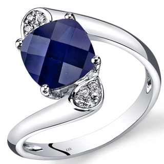 Oravo 14k White Gold 3 1/10ct TGW Created Blue Sapphire and Diamond Accent Bypass Ring