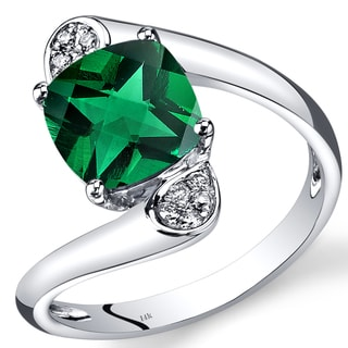 Oravo 14k White Gold 2 1/10ct TGW Created Emerald and Diamond Accent Bypass Ring