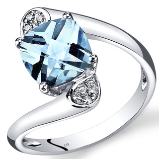 Oravo 14k White Gold 2 1/10ct TGW Cushion-cut Aquamarine and Diamond Accent Bypass Ring