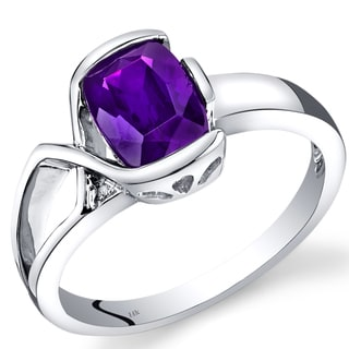 Oravo 14k White Gold 1 1/4ct TGW Amethyst and Diamond Accent Bezel Ring
