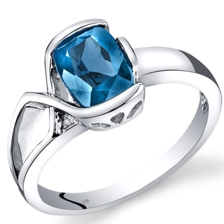 Oravo 14k White Gold 1 1/2ct TGW London Blue Topaz and Diamond Accent Bezel Ring