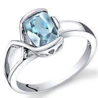 Oravo 14k White Gold 1 1/10ct TGW Aquamarine and Diamond Accent Ring