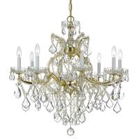 Crystorama Maria Theresa 9-light Gold/Swarovski Spectra Crystal Chandelier - Gold