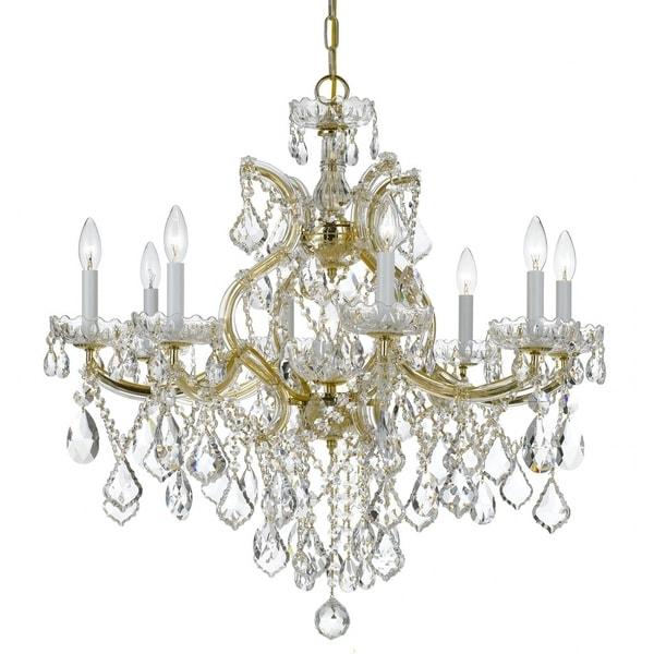 Crystorama Maria Theresa 9-light Gold/Swarovski Strass Crystal Chandelier - Gold