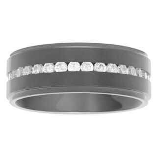 Territory Men's 8mm Titanium Cubic Zirconia Wedding Band