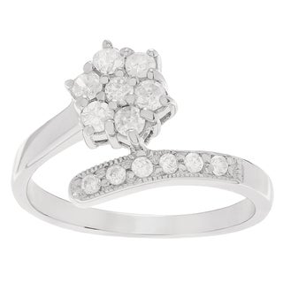 Journee Collection Sterling Silver Cubic Zirconia Flower Wrap Ring