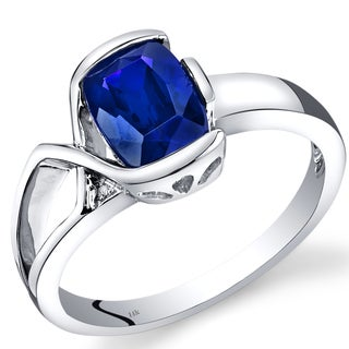 Oravo 14k White Gold 1 4/5ct TGW Created Blue Sapphire and Diamond Accent Bezel Ring