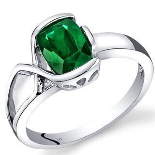 Oravo 14k White Gold 1 1/4ct TGW Created Emerald and Diamond Accent Bezel Ring