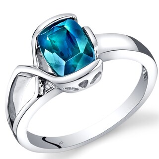 Oravo 14k White Gold 1 1/2ct TGW Created Alexandrite and Diamond Accent Bezel Ring
