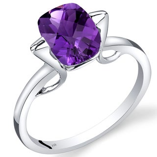 Oravo 14k White Gold 1 3/4ct TGW Amethyst Solitaire Ring