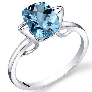 Oravo 14k White Gold 2 1/2ct TGW Swiss Blue Topaz Solitaire Ring