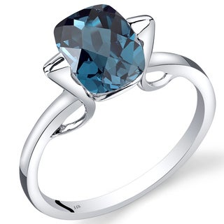 Oravo 14k White Gold 2 1/2ct TGW London Blue Topaz Solitaire Ring