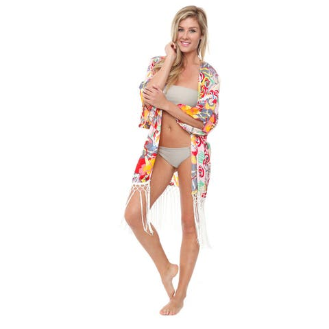 White Mark Women's Pink/Yellow Beach Cover-up