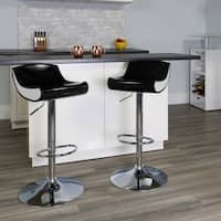 Contemporary Two-Tone Adjustable Height Plastic Barstool with Chrome Base