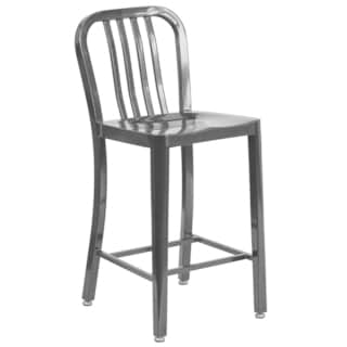 24 inches Metal Stool w/ Back  sc 1 st  Overstock.com : metal stools with back - islam-shia.org