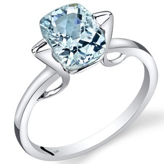 Oravo 14k White Gold 1 3/4ct TGW Aquamarine Solitaire Ring