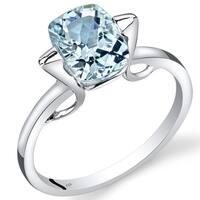 Oravo 14k White Gold 1 3/4ct TGW Aquamarine Solitaire Ring