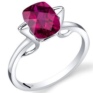 Oravo 14k White Gold 2 3/4ct TGW Created Ruby Solitaire Ring