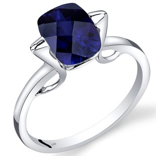 Oravo 14k White Gold 2 3/4ct TGW Created Blue Sapphire Solitaire Ring