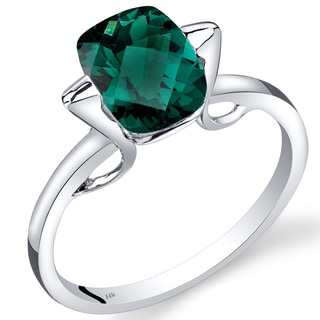 Oravo 14k White Gold 2ct TGW Created Emerald Solitaire Ring