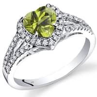 Oravo 14k White Gold 1 5/8ct TGW Heart Peridot and 2/5ct TDW Diamond Halo Ring (I-J, SI1-SI2)
