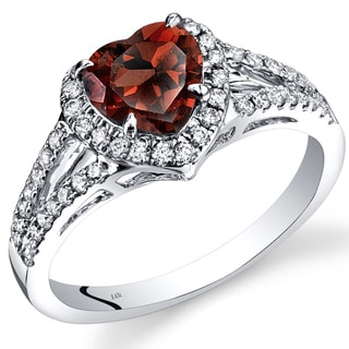 Oravo 14k White Gold 1ct TGW Heart Garnet and 2/5ct TDW Diamond Halo Ring (I-J, SI1-SI2)