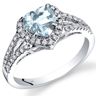 Oravo 14k White Gold 1 2/5ct TGW Aquamarine and 2/5ct TDW Diamond Halo Ring (I-J, SI1-SI2)