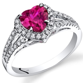 Oravo 14k White Gold 1 7/8ct TGW Created Ruby and Diamond Accent Halo Ring
