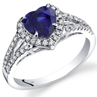 Oravo 14k White Gold 1 7/8ct TGW Created Blue Sapphire and 2/5ct TDW Diamond Halo Ring (I-J, SI1-SI2)