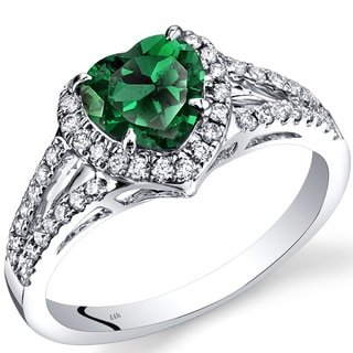 Oravo 14k White Gold 1 5/8ct TGW Created Emerald and 2/5ct TDW Diamond Halo Ring (I-J, SI1-SI2)