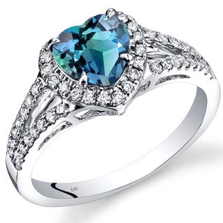 Oravo 14k White Gold 1 7/8ct TGW Created Alexandrite and 2/5ct TDW Diamond Halo Ring (I-J, SI1-SI2)