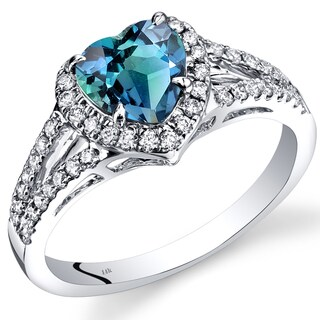 Oravo 14k White Gold 1 7/8ct TGW Created Alexandrite and 2/5ct TDW Diamond Halo Ring (I-J, SI1-SI2)
