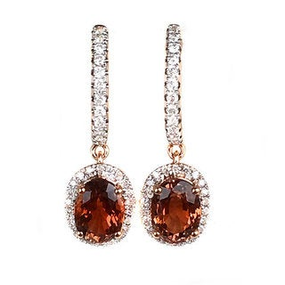 18k Rose Gold Tourmaline and Diamond Dangle Earrings