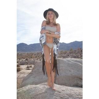 White Mark Women's White/Black/Blue Beach Cover Up