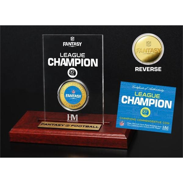 NFL Fantasy Football Gold Champion Coin in 3x5 Etched acrylic Display