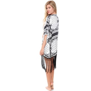 White Mark Women's Black and White Beach Cover Up