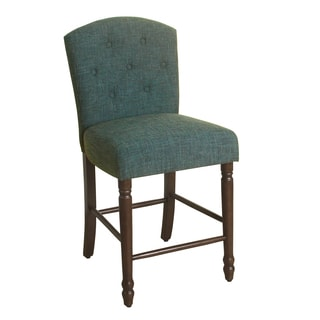 "HomePop Delilah Button Tufted Barstool Deep Teal 24"" Counter Height"