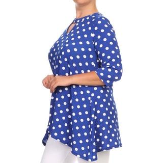 Women's Polyester/Spandex Plus-size Polka-dot Tunic Top