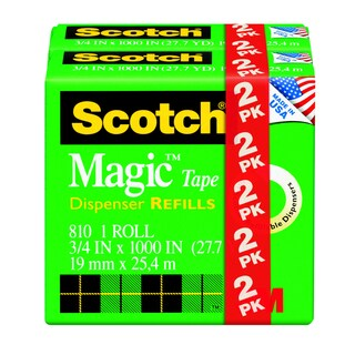 "3M 810-2PK-TB 3/4"" X 1000"" Transparent Scotch Magic Tape 2 Count"