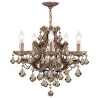 Crystorama Maria Theresa Collection 6-light Antique Brass/Golden Teak Swarovski Strass Crystal Chand