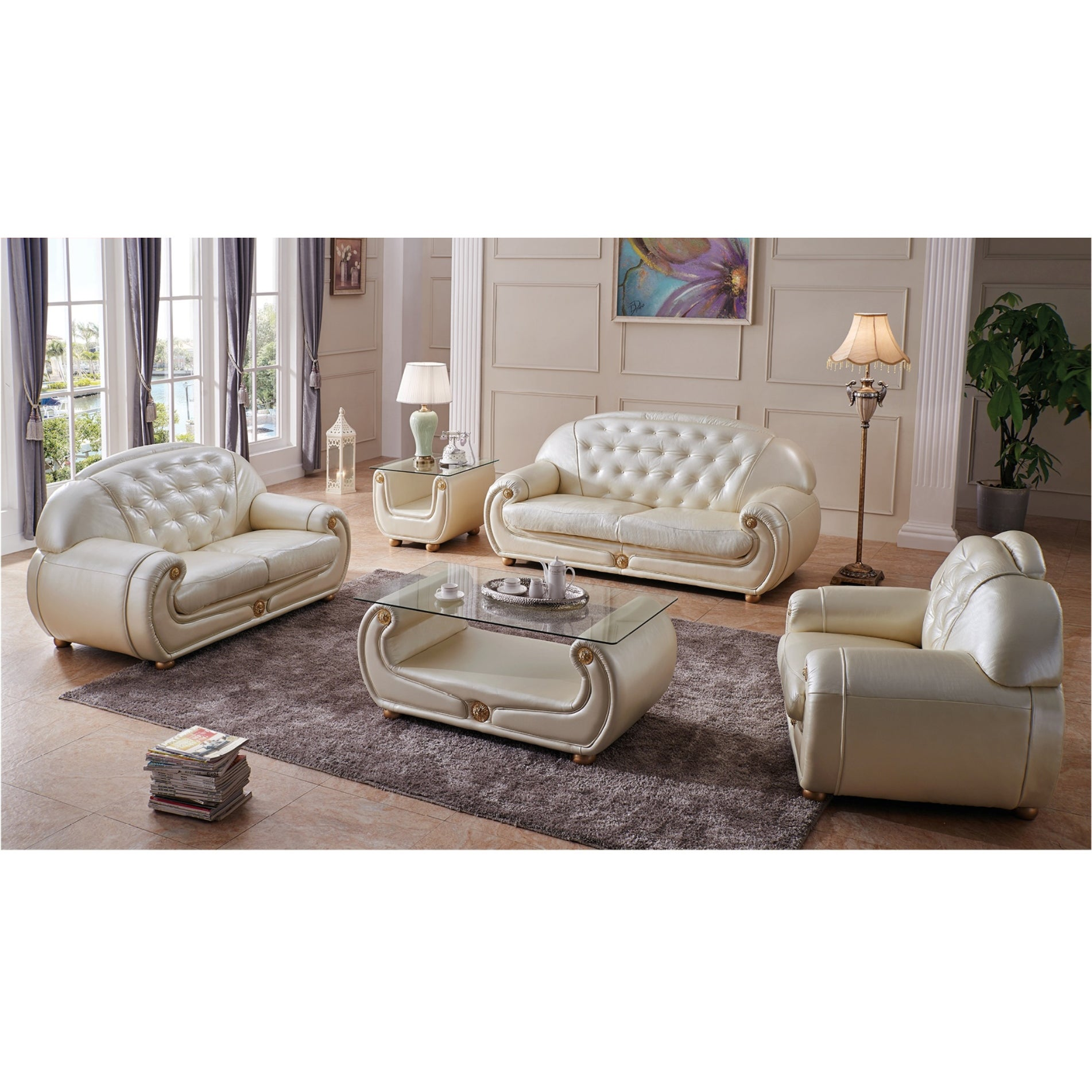 Luca Home Beige/Goldtone Eco-leather/Glass Coffee Table (...