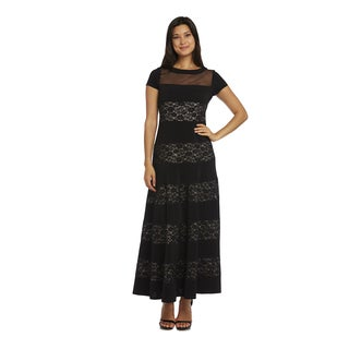 R&M Richards Black Polyester/Spandex Lace Evening Gown