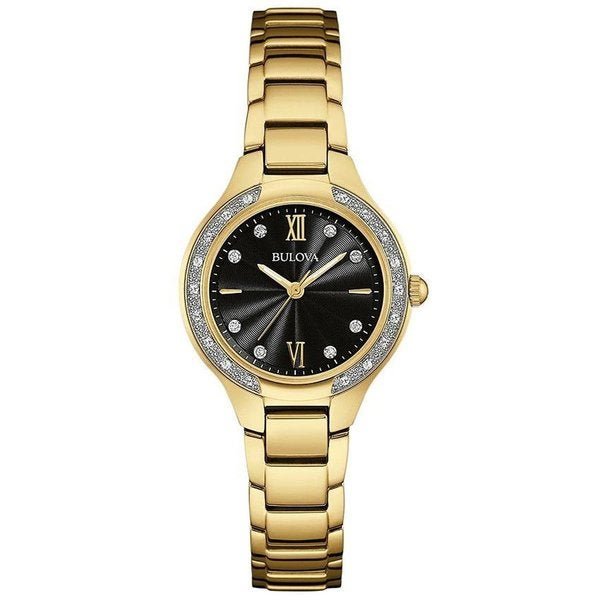 a5d174c1c2c7 Shop Bulova Women's Gold Tone Stainless Steel and Diamond Watch with Black  Dial and Roman Numerals - Free Shipping Today - Overstock - 12544719